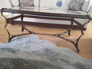 Metal wood and glass coffee table