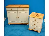 DINING / LIVING / BEDROOM SHABBY CHIC SOLID PINE WOOD 2 DRAW CUPBOARD AND MATCHING BEDSIDE CABINET