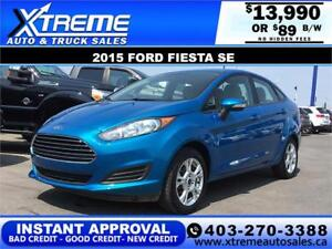 2015 Ford Fiesta SE $0 Down $89 bi-weekly APPLY NOW DRIVE NOW