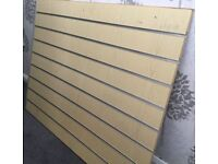 1 x Slatwall/Slatboard panel approx 3ft x 4ft with free metal inserts