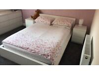 Ikea malm double bed frame with matching side drawers