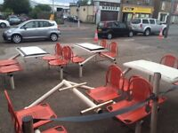 4 seater table attached with chairs, cafe or take away shop
