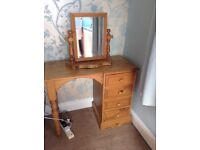 Pine dressing table and matching mirror