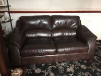 3seater brown leather settee very comfortable slight mark under arm hence low price