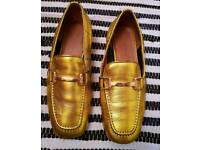 Topshop Carter Gold Loafers Size 3