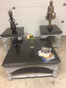 Solid Wood coffee table and two side tables set EUC- Chalk Paint