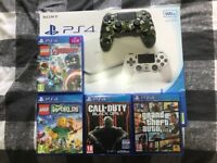 Playstation 4 slim white 500gb + 2 games and camo controller (grade A condition)
