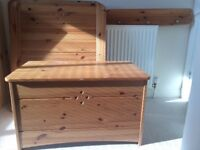 John Lewis CotBed, Blanket Box & Shelf. Excellent condition and quality. Fittings included.