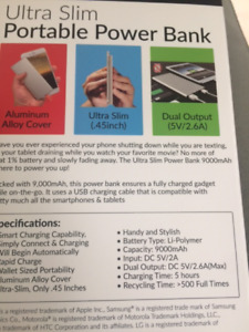 Supersonic Ultrathin Portable Power Bank Silver $59.00 Brand New