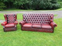Chesterfield Oxblood Red Leather 3 Seater Sofa + 1 Wingback Armchair