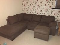 Large Corner Sofa with Foot Stool