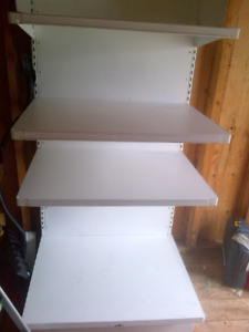 White metal shelving, ideal for garage, shed or basement