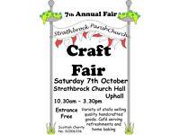 Annual Craft Fair - Sat 7th Oct, 10.30am to 3.30pm, Strathbrock Church Hall, Uphall