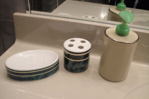 Lot of 3 of Washroom Soap Pump Soap Dish, Toothbrush Holder