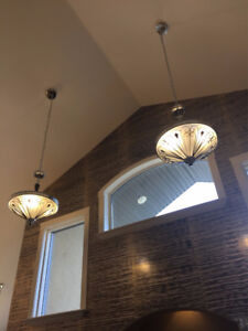 Gorgeous Italian Chrome and Mirror Hanging Lights
