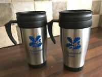 Brand New Pair of National Trust Thermal Travel Mugs/Flasks