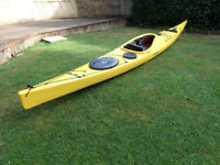 Sea Kayak P&H Delphin 155, paddle, compass and spray deck. 2016. As new