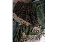 2 PAIRS OF BROCADE FULL LENGTH CURTAINS