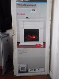 Silvercrest electric fireplace and surround. Not been opened.