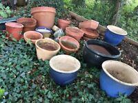 Garden Pots: selection of about 20 proper pottery pots