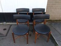 """G plan 1960s """"Fresco"""" dining chairs"""