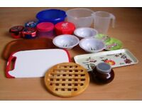 17x Mix Bundle Lot Kitchen Items Food Containers Trays Bowls Plastic Porcelain Wood Chopping Board