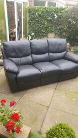 3 + 1 black leather reclining sofa
