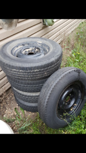 """5 black- 15"""" trailer rims and tires 5 x 4.75"""""""