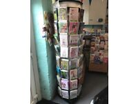 Tall Rotating Card Stand.Spinner cards. floor stand on wheels.72 compartments