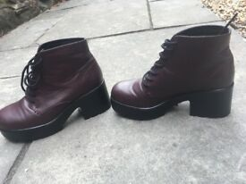 Topshop chunky burgundy shoes