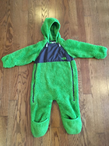 North Face fleece bunting suit 6-12 months
