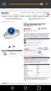 Lab Created blue and white sapphire ring STERLING SILVER