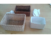 3 Wicker Storage Baskets with covers