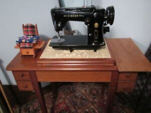 Vintage Singer Sewing Machine 319K with Solid Wooden Cabinet