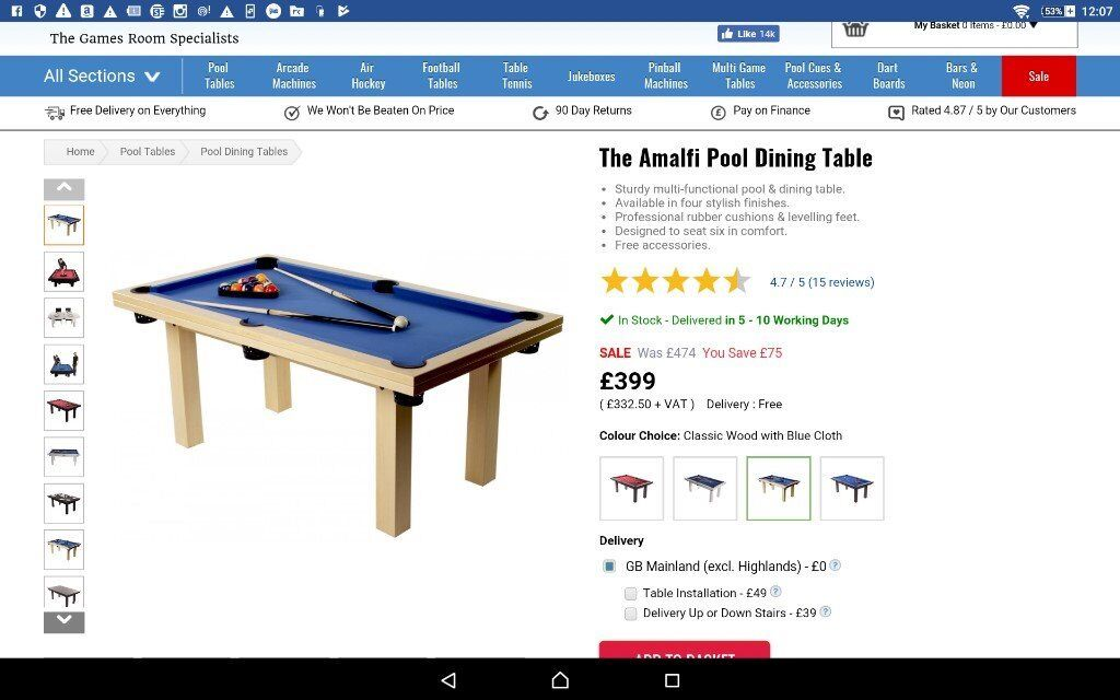 Dining Table - converts into pool table