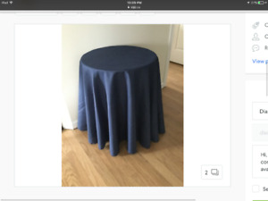 Round side table with navy cover