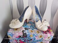 Irregular Choice. cream sparkly. size 3 new and boxed. carrick. immaculate. grab a bargain