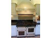 Rangemaster/Leisure Range with double oven, dual fuel, with Cooker Hood, all in cream