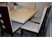 Marble dinning table & 6 chairs