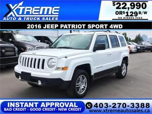 2016 Jeep Patriot Sport 4W $12 BI-WEEKLY APPLY TODAY DRIVE TODAY