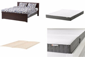 Bed Queen IKEA Brusali and mattress Morgedal