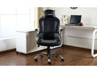 AS NEW GT FORCE OFFICE EXECUTIVE GAMING CHAIR RECLINING GREY BLACK AS NEW
