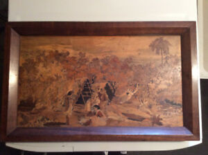 Rosewood Framed Marquetry Picture Pakistani Tribal Scene