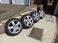 Genuine Audi Alloy Wheels 5 Stud 225/50 R17 with Dunlop Winter Tyres