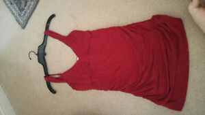 Dynamite red tank top with ruching at sides