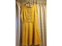 Asos Faux Suede Mustard Swing Dress UK 10 P