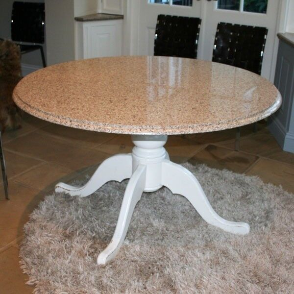 QUALITY ROUND TOP DINING KITCHEN TABLE With SILESTONE And WOOD PEDESTAL BASE