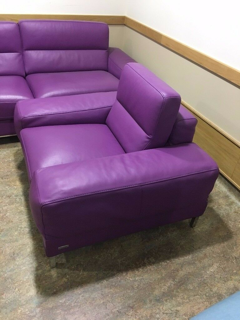 2piece Incanto Purple Leather Sofa For Edinburgh Area