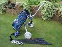 Full set of graphite shaft Ram MDD golf clubs inc bag and trolley