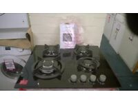 cata 4 burner black cast iron gas hob new